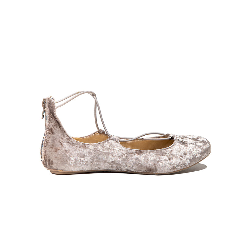 Miss Shelly Mink Crushed Velvet Flat - Children's