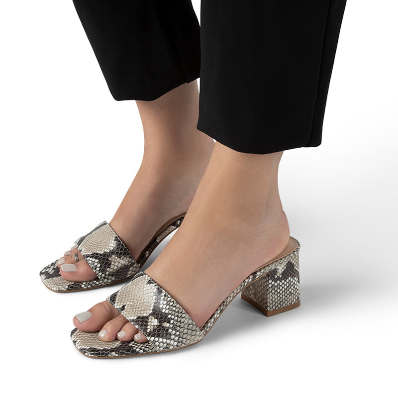 Danielle Natural Python Print Leather Heeled Slide