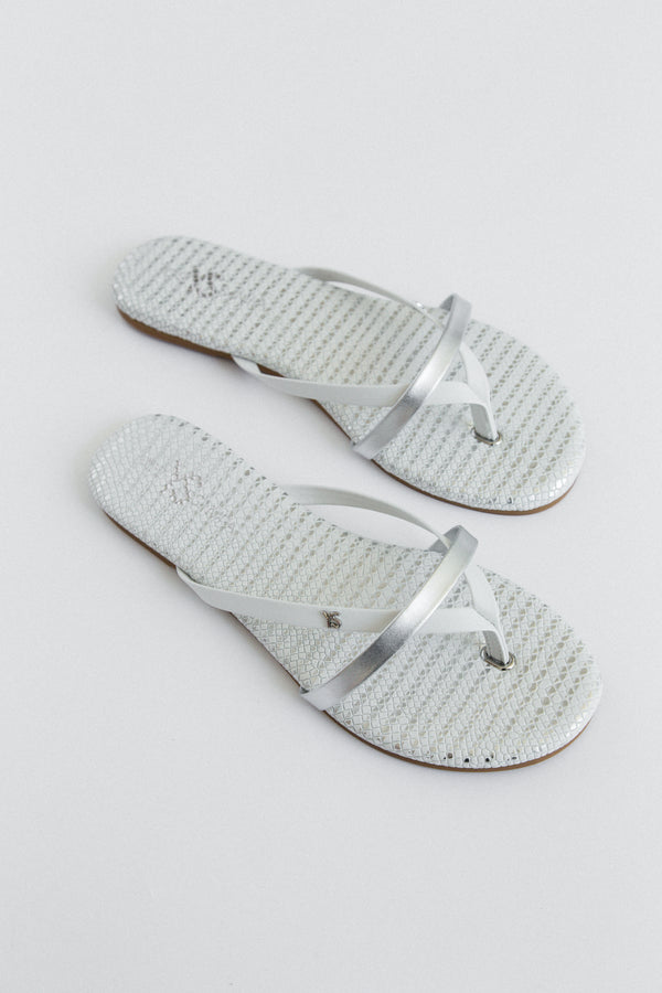 River White Snake Print Leather Flip Flop