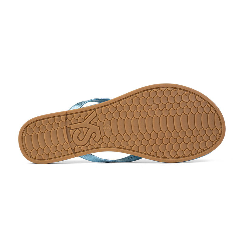 Rivington Light Blue Speckled Leather Flip Flop