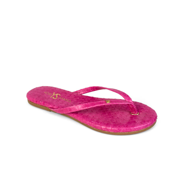 Rivington Fuchsia Scaled Leather Flip Flop