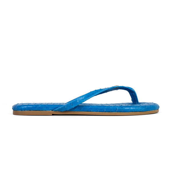 Rivington Ocean Blue Scaled Leather Flip Flop