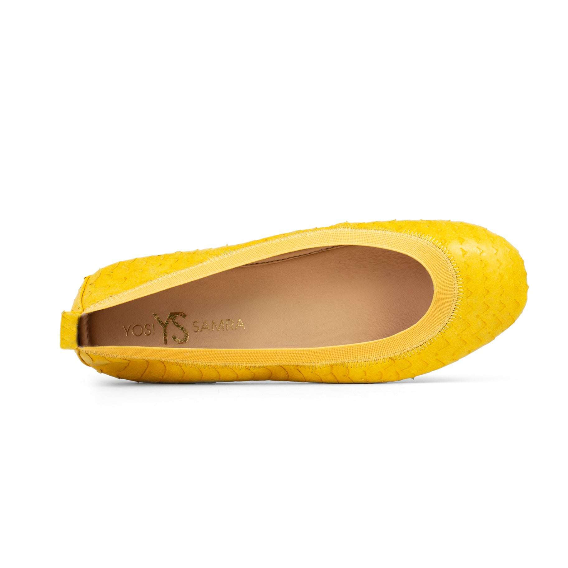 Samara Yellow Scaled Leather Ballet Flat