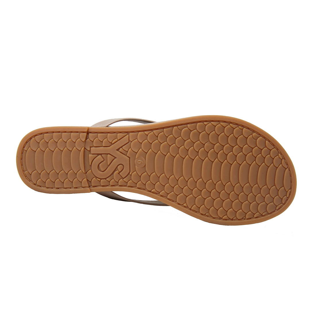 Yosi Samra simply taupe leather flip flop