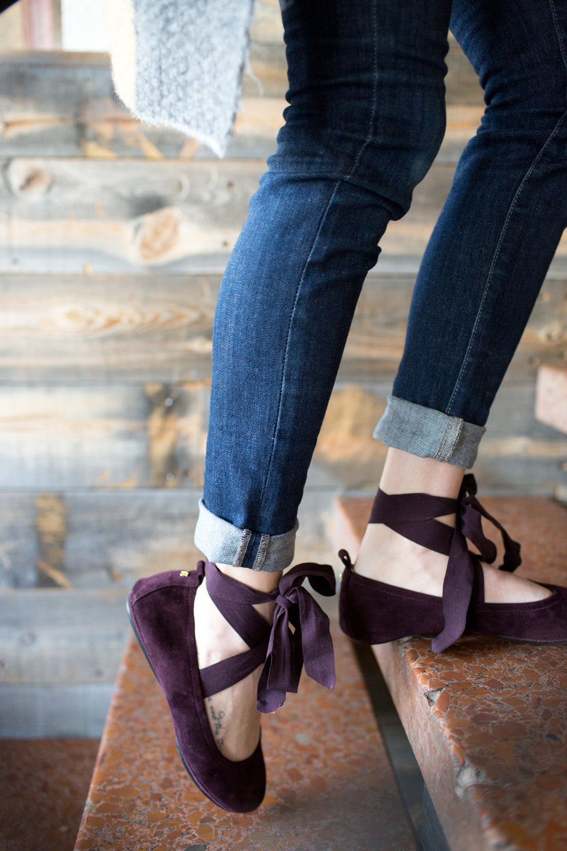 Stella Fig Suede Removable Tie