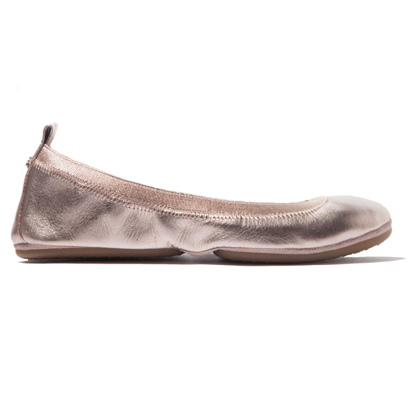 Samara Rose Gold Metallic Leather Ballet Flat