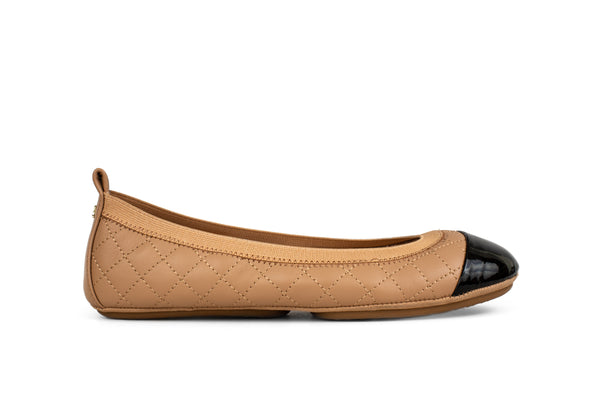 Samantha Camel Nappa and Black Patent Cap Toe Ballet Flat