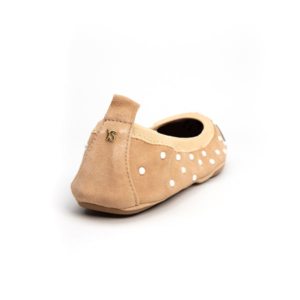 Samantha Camel Kid Suede and Patent Cap Toe Ballet Flat with Pearl Studs