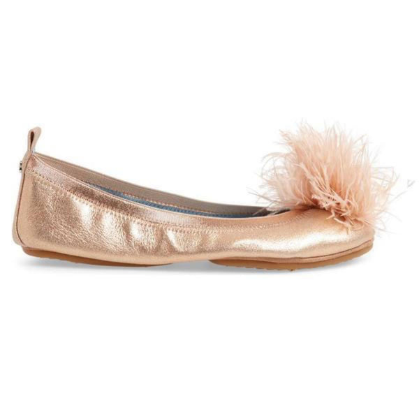 yosi samra rose gold suede leather ballet flat bridal