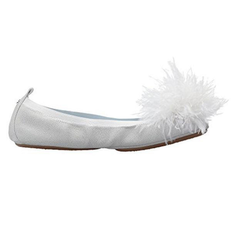 yosi samra white silver suede leather ballet flat bridal