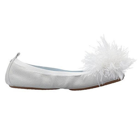 Marry Me Marabou Rose Gold Suede Flat