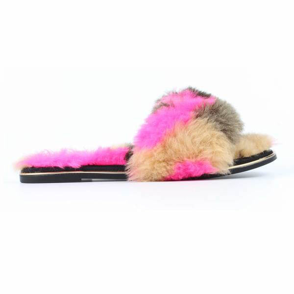 yosi samra pink grey natural multi fur leather slide