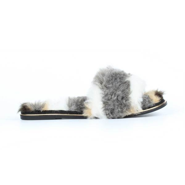 yosi samra white grey natural multi fur leather slide