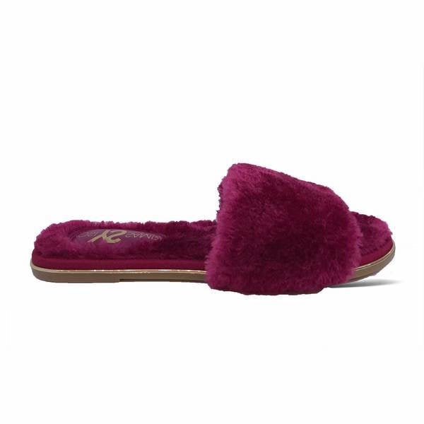 yosi samra cranberry fur leather slide
