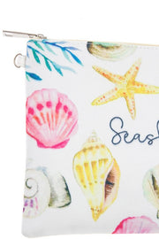 Seashells print pouch bag