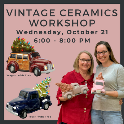 Wednesday, October 21 Vintage Ceramics Workshop @ Polka Dot Pots Wisconsin Dells