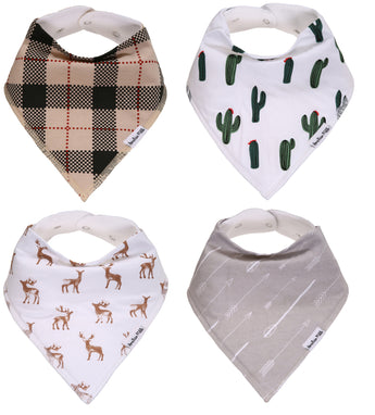 "Organic Cotton Baby Bandana Bibs For Boys and Girls - ""Buckaroo Set"""