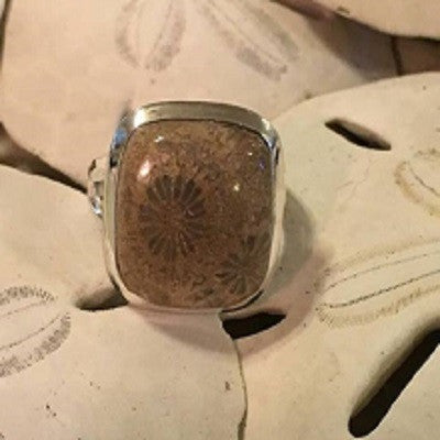 Cantley's Treasures Coralized Fossil Ring set in Sterling Silver