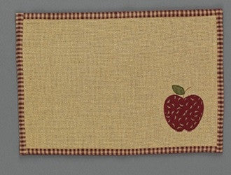 Burlap Cotton Applique Apple Placemat