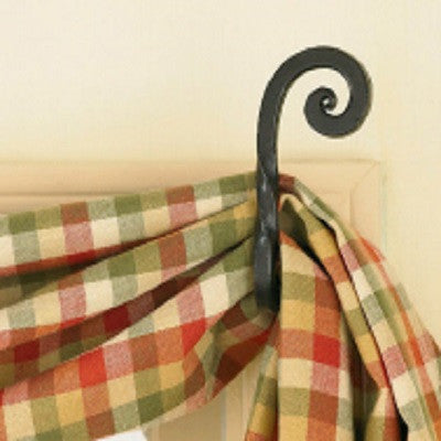 Forged Scroll Curtain Hooks ~ Pair