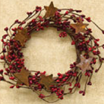 4 Inch Red Pip Berry & Rusty Star Candle Ring