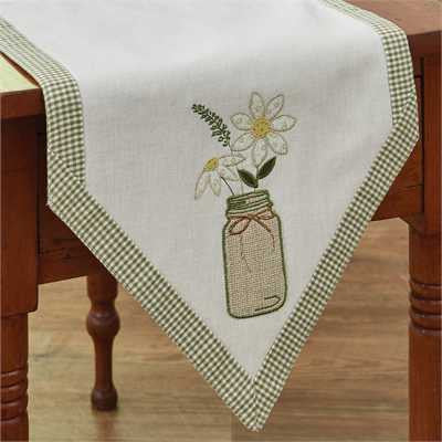 Daisy Mason Jar 42 Inch Table Runner