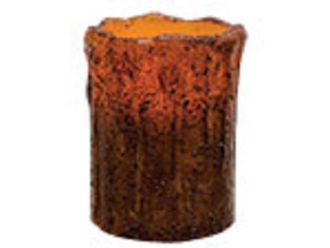 Battery Operated Grungy 4 Inch Remote Control Brown Pillar Candle