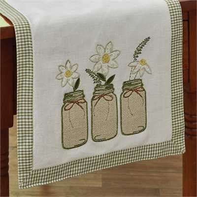 Daisy Mason Jar 54 Inch Table Runner