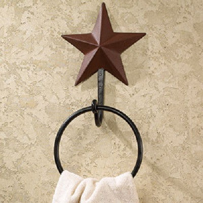 Red Metal Star Towel Holder