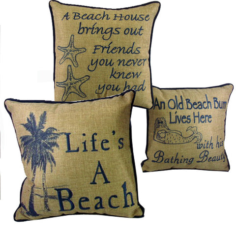 Canvas Seaside Pillow ~ 10 Inches
