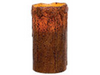 Battery Operated Grungy 6 Inch Brown Remote Control Pillar Candle