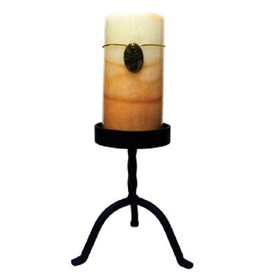 6 Inch Black Wrought Iron Pillar Candle Stand