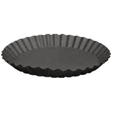 Fluted 8 Inch Black Metal Candle Plate