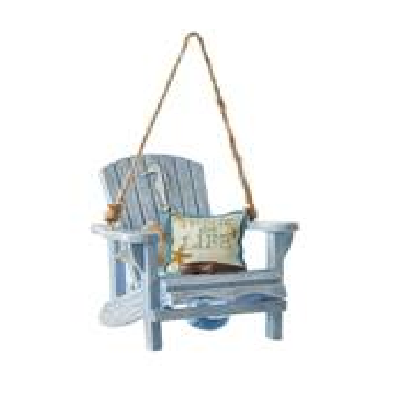 Kurt S. Adler Wooden Blue Beach Chair With Seahorse Ornament