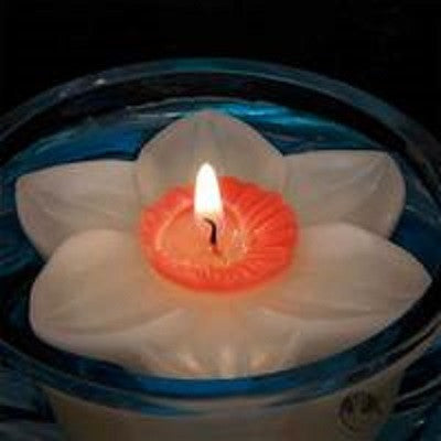 Daffodil Floating Candle by Armadilla Wax Works