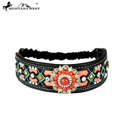 Montana West Embroidered Collection Headband ~ Floral Concho ~ Black