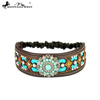 Montana West Embroidered Collection Headband ~ Floral Concho ~ Coffee