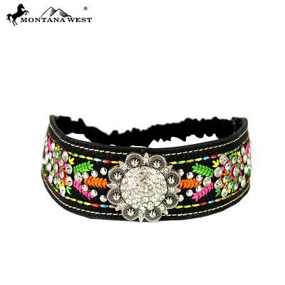 Montana West Embroidered Collection Headband ~ Silver Rhinestone Concho