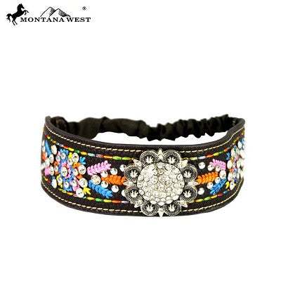 Montana West Embroidered Collection Headband ~ Silver Rhinestone Concho ~ Blue