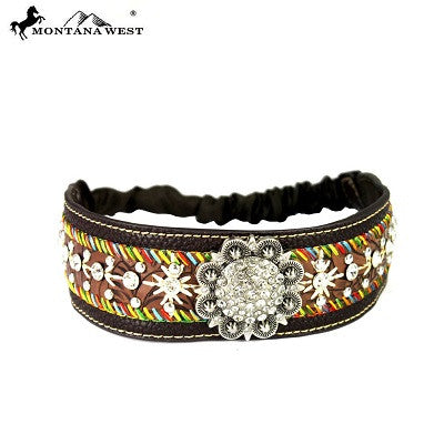 Montana West Embroidered Collection Headband ~ Coffee