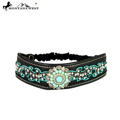Montana West Embroidered Collection Headband ~ Boot Scroll Floral Concho ~ Teal