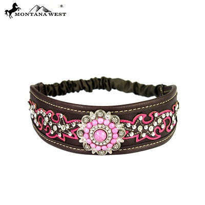 Montana West Embroidered Collection Headband ~ Boot Scroll Floral Concho ~ Pink