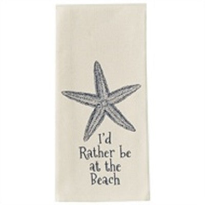 Cotton Printed Starfish I'd Rather Be At The Beach Dishtowel