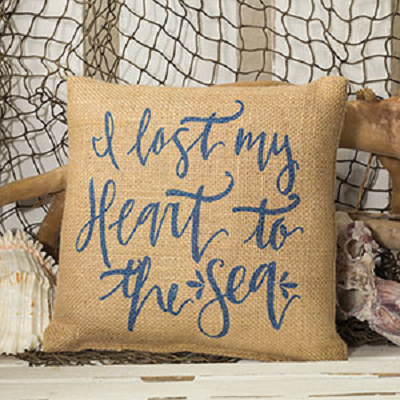 I Lost My Heart To The Sea Burlap Pillow