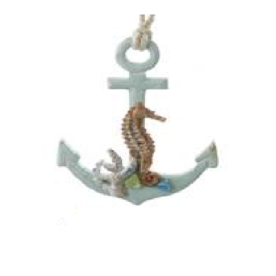 Kurt S. Adler Wooden Seahorse on Anchor Ornament