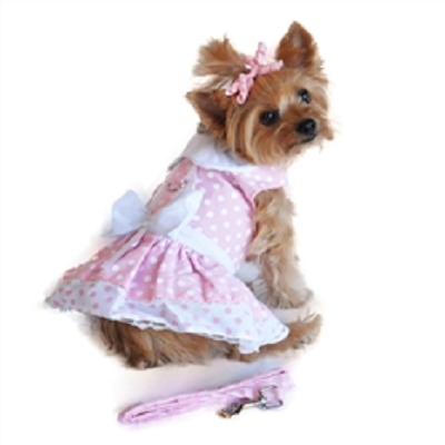 Polka Dot and Lace Dog Dress Set with Leash - Pink