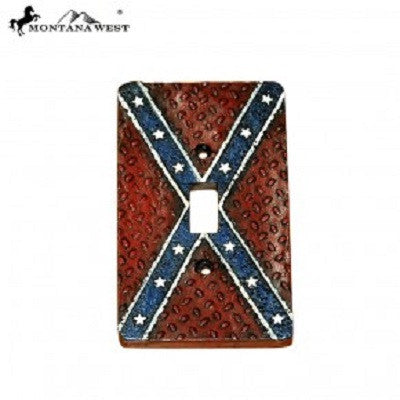 Montana West Rebel Flag Single Switch Plate Resin Cover