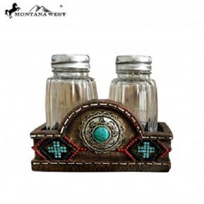 Montana West Leather-Like Aztx Design Salt and Pepper Shaker Set