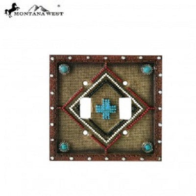 Montana West Leather-Like Aztec Design Double Switch Plate Cover