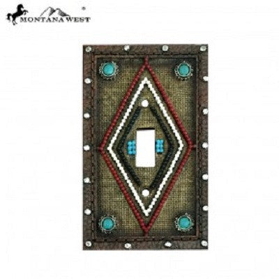 Montana West Tooled Leather-Like Aztec Design Single Switch Plate Cover